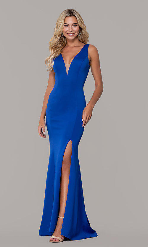 Image of long open-back prom dress with v-neckline. Style: DJ-A7025 Front Image