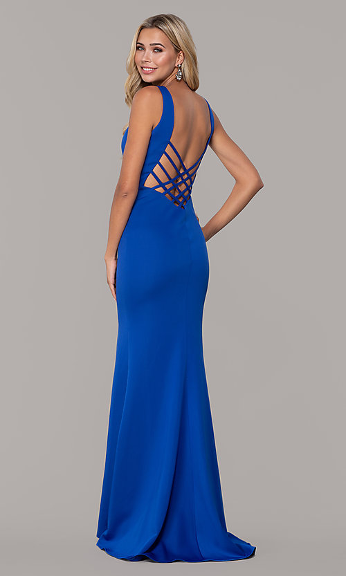 Image of long open-back prom dress with v-neckline. Style: DJ-A7025 Back Image