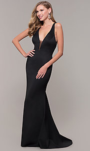 Image of long Dave and Johnny prom dress with v-neckline. Style: DJ-A7157 Detail Image 4