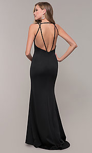 Image of long Dave and Johnny prom dress with v-neckline. Style: DJ-A7157 Detail Image 5
