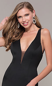 Image of long Dave and Johnny prom dress with v-neckline. Style: DJ-A7157 Detail Image 6