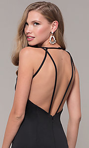 Image of long Dave and Johnny prom dress with v-neckline. Style: DJ-A7157 Detail Image 7