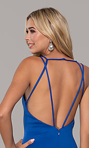 Image of long Dave and Johnny prom dress with v-neckline. Style: DJ-A7157 Detail Image 2