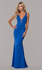 Image of long Dave and Johnny prom dress with v-neckline. Style: DJ-A7157 Detail Image 3