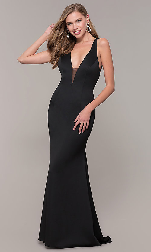 Image of long Dave and Johnny prom dress with v-neckline. Style: DJ-A7157 Detail Image 8