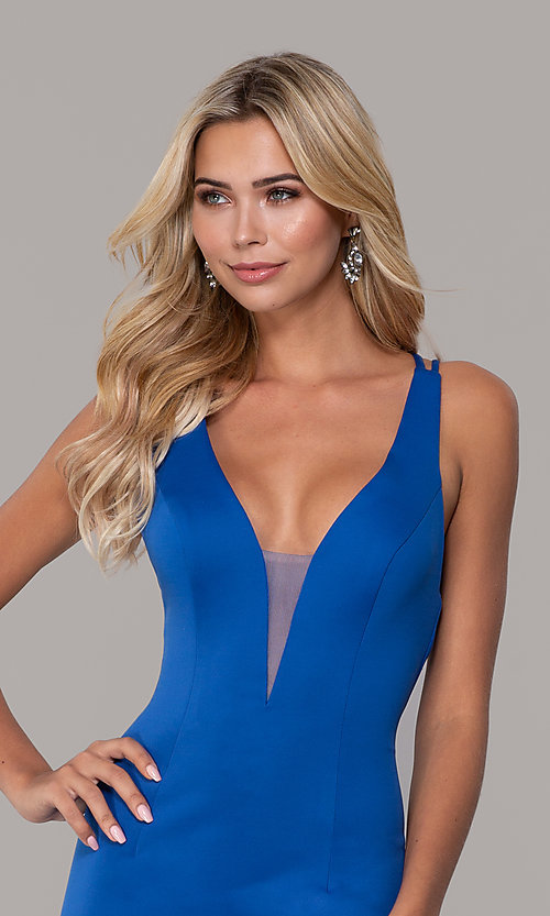 Image of long Dave and Johnny prom dress with v-neckline. Style: DJ-A7157 Detail Image 1