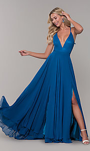Image of long teal blue prom dress with illusion lace back. Style: DJ-A7102 Front Image