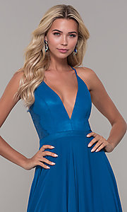 Image of long teal blue prom dress with illusion lace back. Style: DJ-A7102 Detail Image 1
