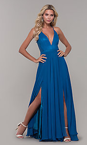 Image of long teal blue prom dress with illusion lace back. Style: DJ-A7102 Detail Image 3