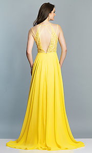 Image of low-v-neck long Dave and Johnny prom dress. Style: DJ-A7174 Detail Image 5