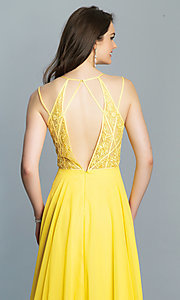 Image of low-v-neck long Dave and Johnny prom dress. Style: DJ-A7174 Detail Image 7