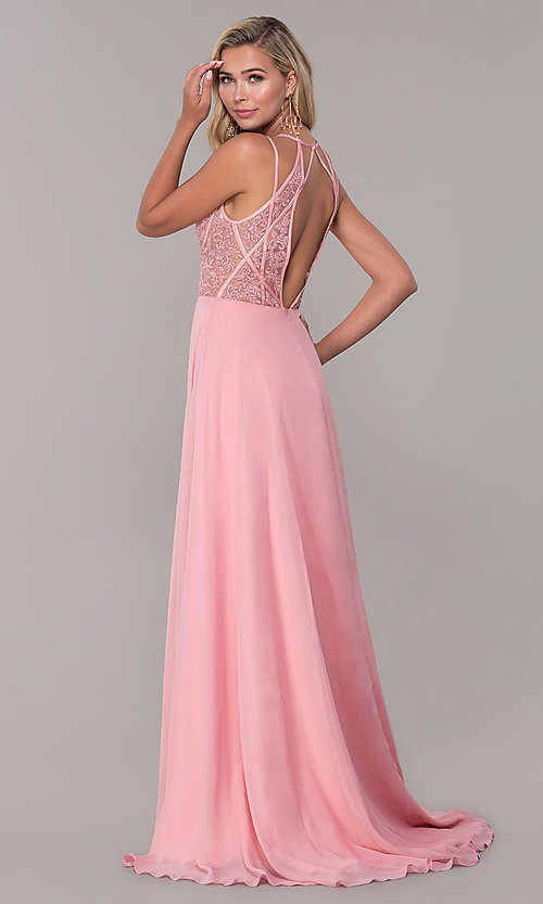 Image of low-v-neck long Dave and Johnny prom dress. Style: DJ-A7174 Back Image