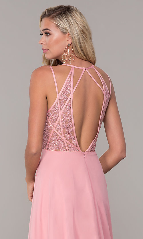 Image of low-v-neck long Dave and Johnny prom dress. Style: DJ-A7174 Detail Image 2