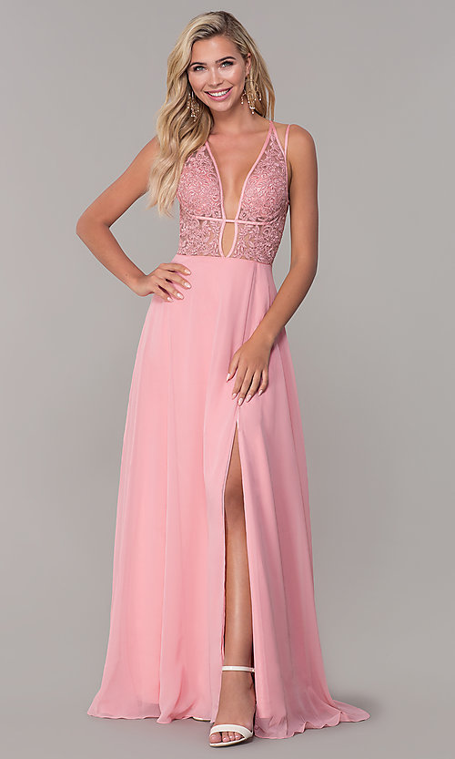 Image of low-v-neck long Dave and Johnny prom dress. Style: DJ-A7174 Detail Image 3