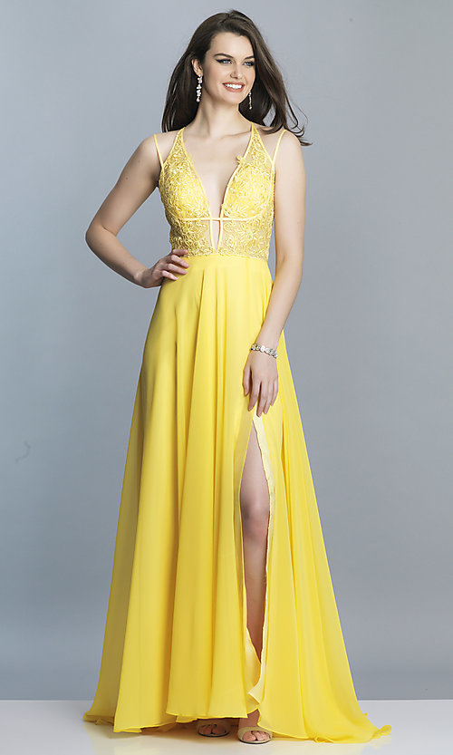 Image of low-v-neck long Dave and Johnny prom dress. Style: DJ-A7174 Detail Image 4