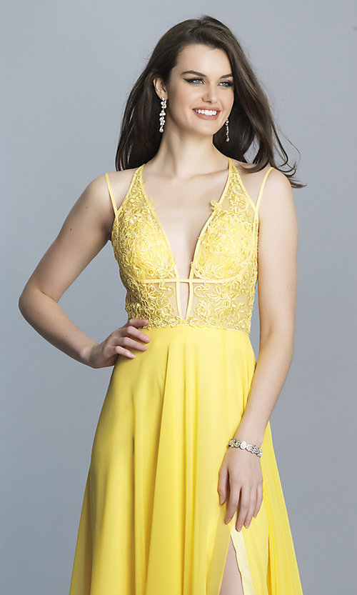 Image of low-v-neck long Dave and Johnny prom dress. Style: DJ-A7174 Detail Image 6