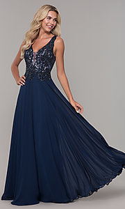 Image of navy blue long prom dress with beaded bodice. Style: DJ-A7868 Front Image