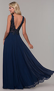 Image of navy blue long prom dress with beaded bodice. Style: DJ-A7868 Back Image