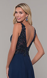 Image of navy blue long prom dress with beaded bodice. Style: DJ-A7868 Detail Image 2