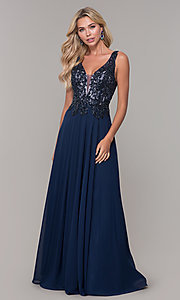 Image of navy blue long prom dress with beaded bodice. Style: DJ-A7868 Detail Image 3