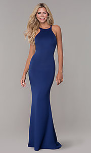 Image of fitted long Dave and Johnny high-neck prom dress. Style: DJ-3977 Front Image