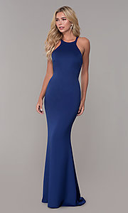 Image of fitted long Dave and Johnny high-neck prom dress. Style: DJ-3977 Detail Image 3