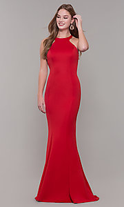 Image of fitted long Dave and Johnny high-neck prom dress. Style: DJ-3977 Detail Image 4