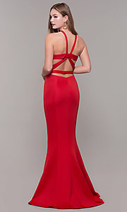 Image of fitted long Dave and Johnny high-neck prom dress. Style: DJ-3977 Detail Image 5