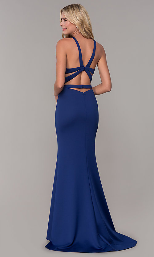 Image of fitted long Dave and Johnny high-neck prom dress. Style: DJ-3977 Back Image