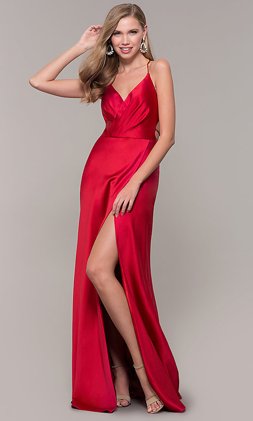 Image of long open-back satin prom dress by Dave and Johnny. Style: DJ-A7534 Detail Image 3