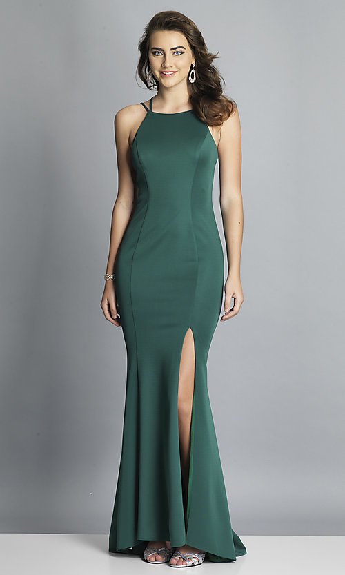 Image of long Dave and Johnny prom dress with open back. Style: DJ-A7022 Detail Image 4
