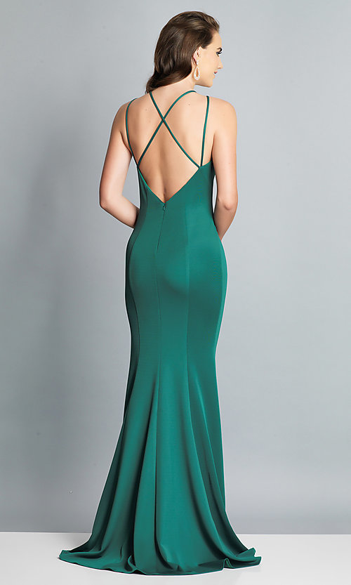Image of long Dave and Johnny prom dress with open back. Style: DJ-A7022 Detail Image 5
