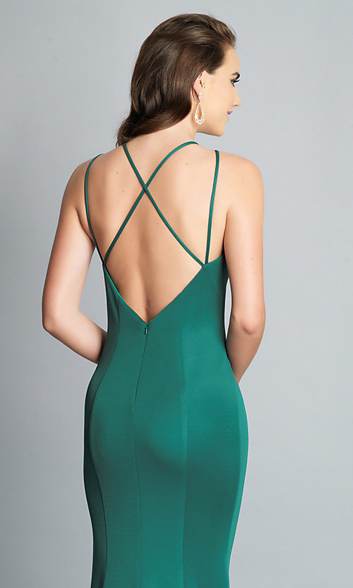 Image of long Dave and Johnny prom dress with open back. Style: DJ-A7022 Detail Image 7