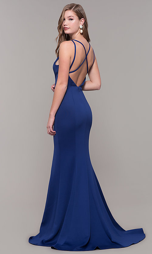 Image of long Dave and Johnny prom dress with open back. Style: DJ-A7022 Front Image