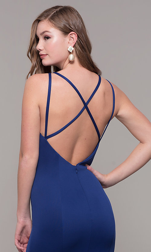 Image of long Dave and Johnny prom dress with open back. Style: DJ-A7022 Detail Image 2