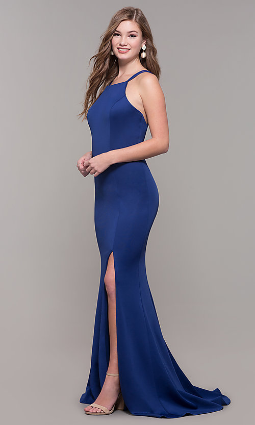 Image of long Dave and Johnny prom dress with open back. Style: DJ-A7022 Detail Image 3