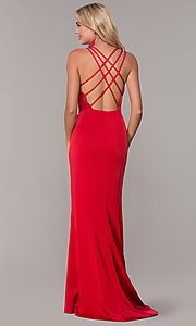 Image of long sweetheart open-back Dave and Johnny prom dress. Style: DJ-A7070 Back Image