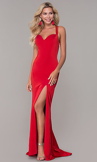 Long Sweetheart Open-Back Dave and Johnny Prom Dress