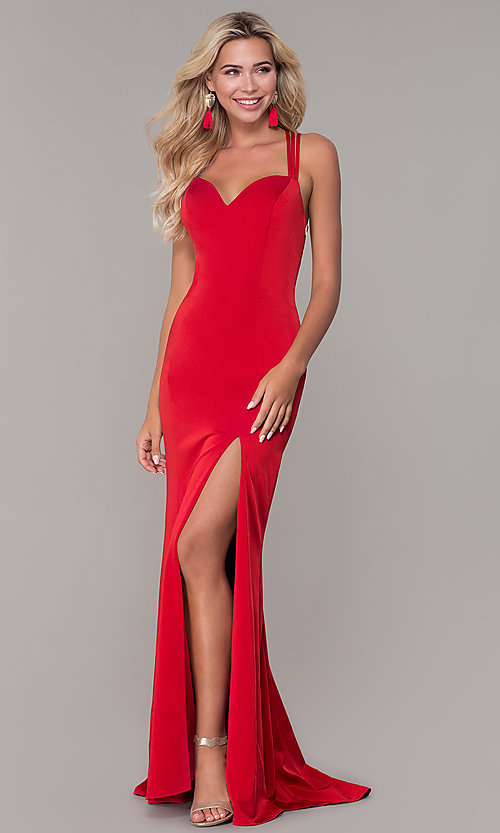 Image of long sweetheart open-back Dave and Johnny prom dress. Style: DJ-A7070 Front Image