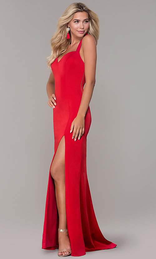 Image of long sweetheart open-back Dave and Johnny prom dress. Style: DJ-A7070 Detail Image 3