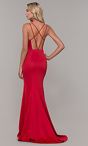 Image of long red prom dress with caged open back. Style: DJ-A7023 Back Image