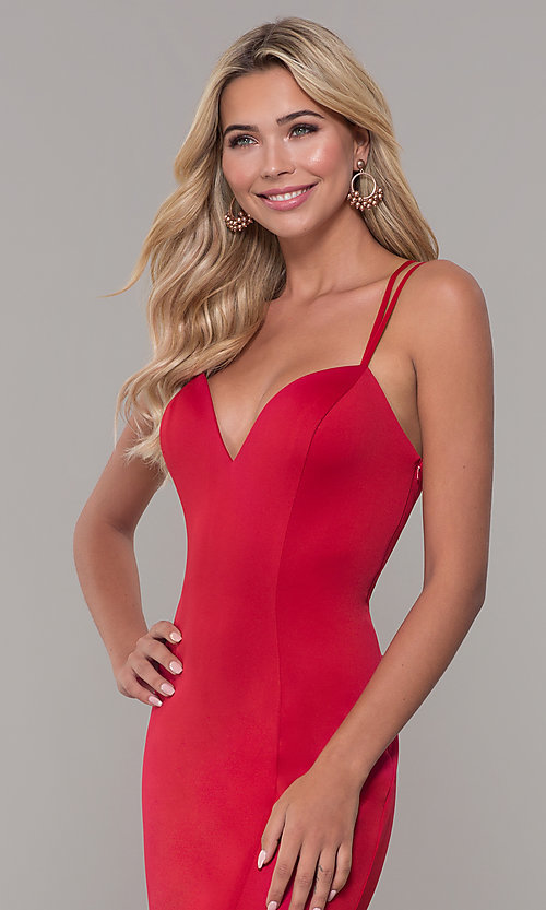 Image of long red prom dress with caged open back. Style: DJ-A7023 Detail Image 1