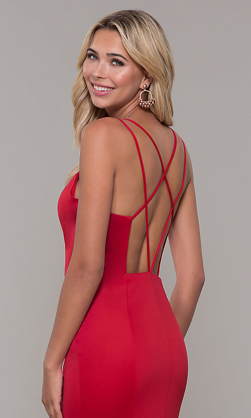 Image of long red prom dress with caged open back. Style: DJ-A7023 Detail Image 2