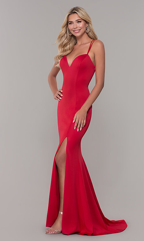 Image of long red prom dress with caged open back. Style: DJ-A7023 Detail Image 3
