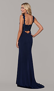Image of Dave and Johnny long navy prom dress with lace. Style: DJ-A6845 Back Image