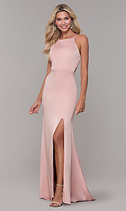 Image of long high-neck prom dress by Dave and Johnny. Style: DJ-A7535 Front Image