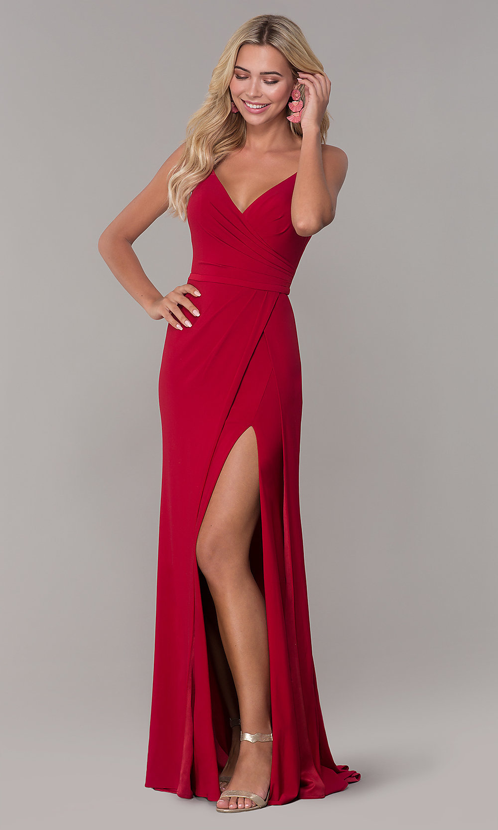 dbdc8c5f850 V-Neck Dave and Johnny Prom Dress with Slit - PromGirl