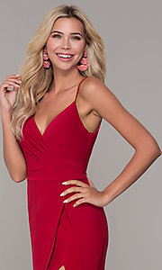 Image of long v-neck Dave and Johnny prom dress with slit. Style: DJ-A7074 Detail Image 1