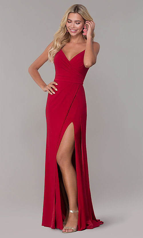 82fb95c56212 Image of long v-neck Dave and Johnny prom dress with slit. Style: