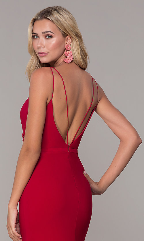 Image of long v-neck Dave and Johnny prom dress with slit. Style: DJ-A7074 Detail Image 2